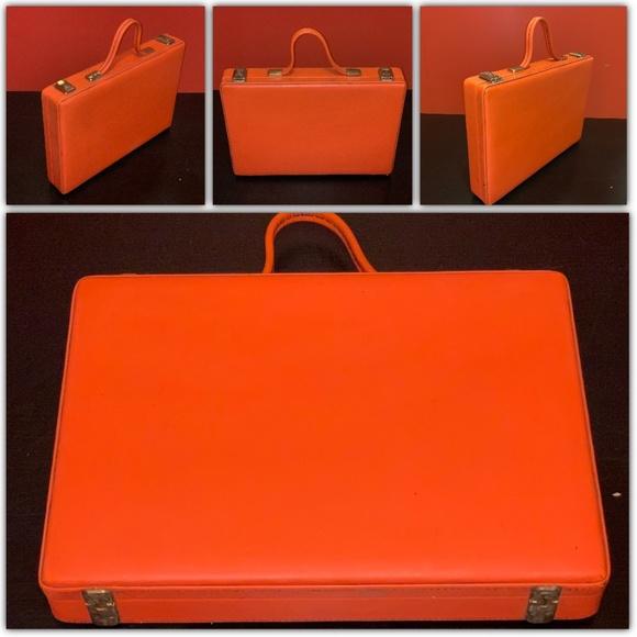 Unknown Handbags - Orange Unisex Tall Travel Vintage Briefcase